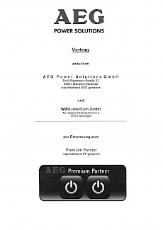 AEG Power Solutions  USV Premium Partner Zertifikat