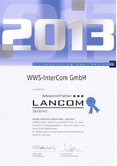 Lancom Advanced Partner 2013 Zertifikat
