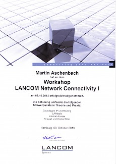 Lancom-Network-Connectivity1 Zertifikat