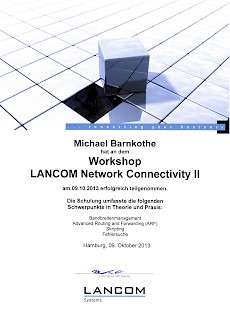 Lancom Network Connectivity II Michael Barnkothe Zertifikat