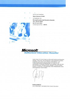 WWS-InterCom Microsoft registirerter Education Reseller 2010