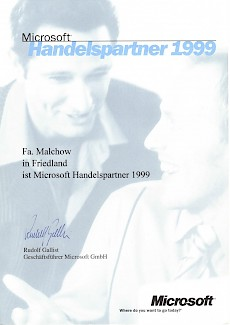WWS-InterCom Microsoft registirerter Handelspartner Partner 1999