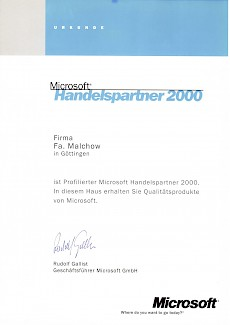 WWS-InterCom Microsoft registirerter Handelspartner Partner 2000