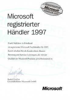 WWS-InterCom Microsoft registirerter Partner 1997