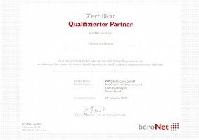 Zertifikat: Beronet Certified Business Partner für Telekommunikation